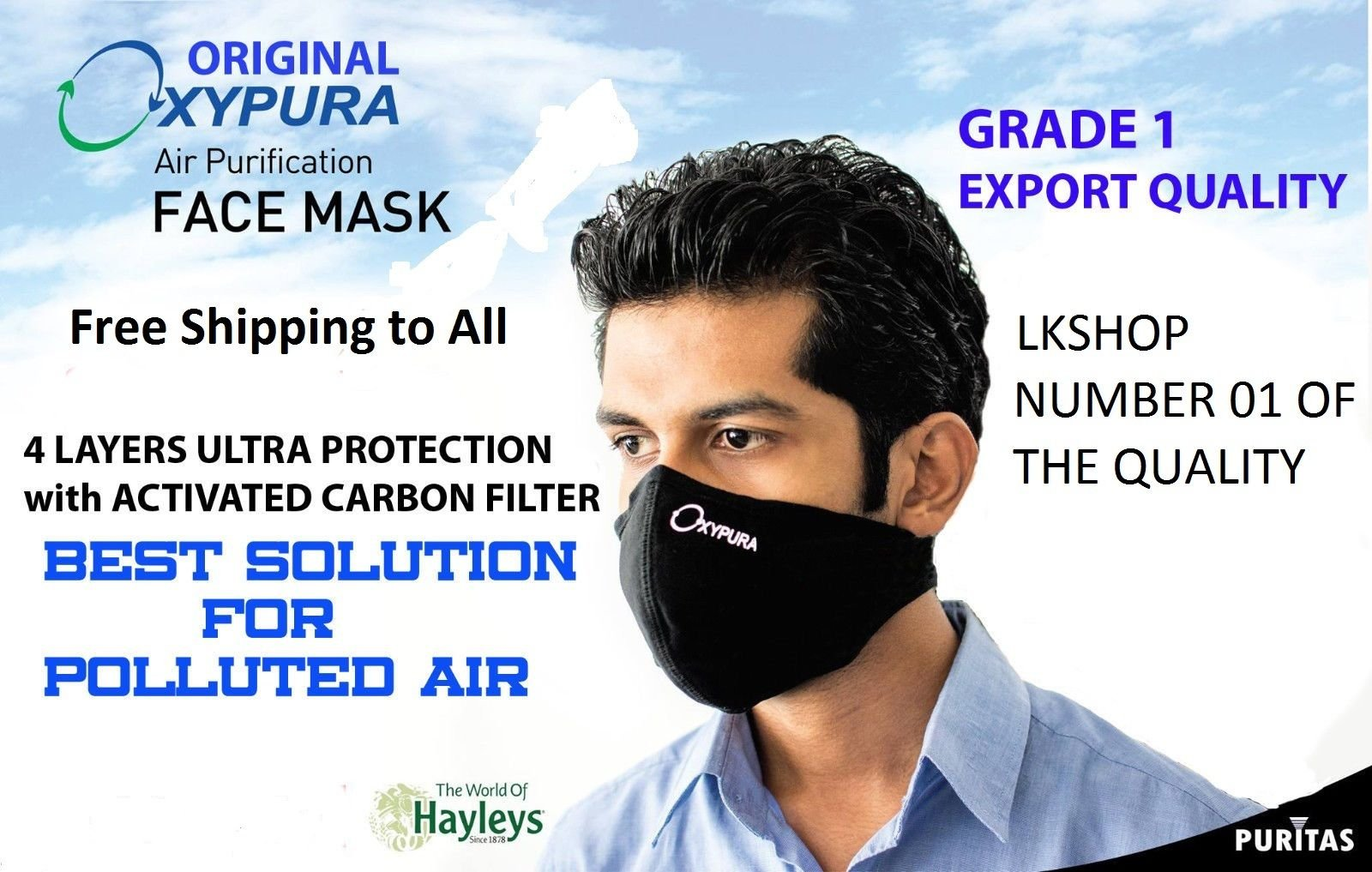 Air Purifying Face Mask with Activated carbon filter multi layer - One Mask