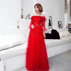 HQ159 Floor Length A-line 2019 New Elegant Long Evening Dress Ostrich Feathers Fancy Ladies Long Evening Party Wear Gown