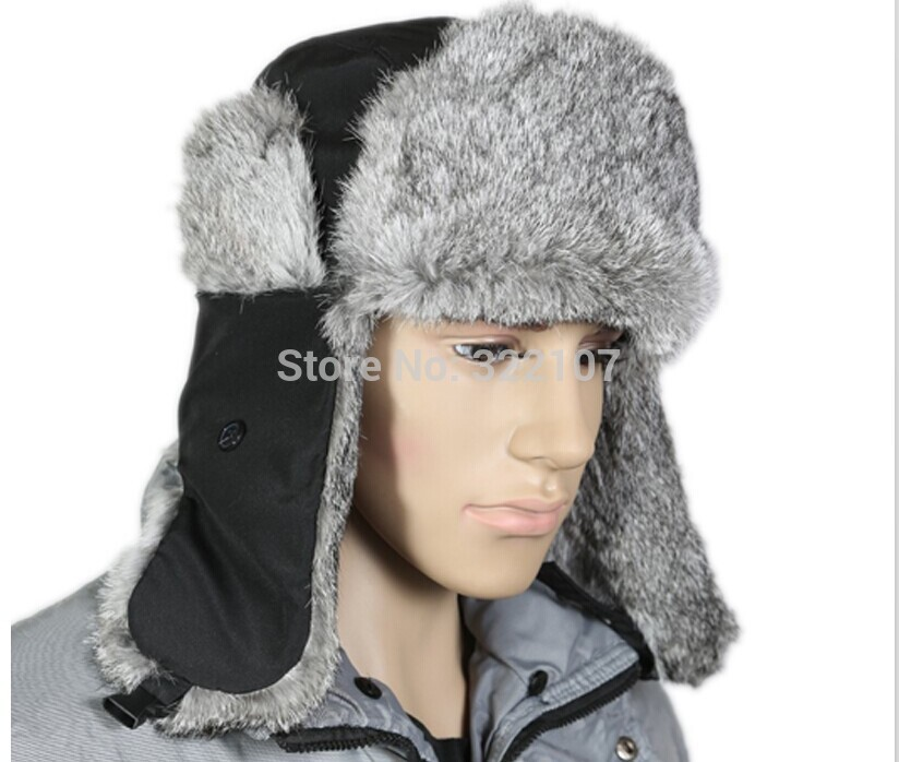 0517d8a2f44 Get Quotations · The most thick rabbit fur man hat and cap Bomber hat real rabbit  fur cap and