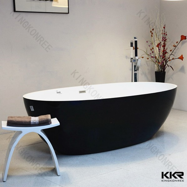 Fashion black matt white artificial stone modern design freestanding bath