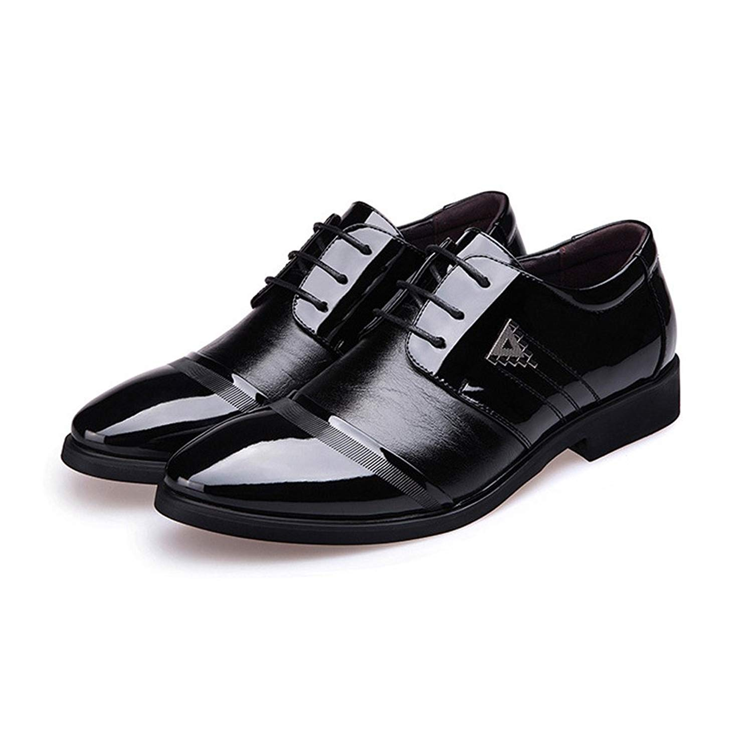 Muyin Men's Business Shoes Smooth PU Leather Splice Vamp Lace up Lined Block Heel Oxfords
