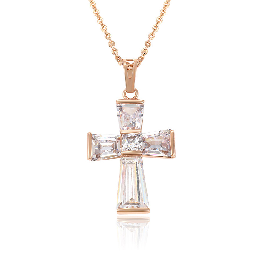 32761-xuping <strong>fashion</strong> rose gold plated diamond clip on necklace pendants