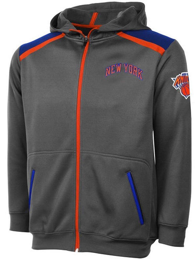 New York Knicks NBA Majestic Boys Full Zip Hoodie Charcoal Youth Sizes