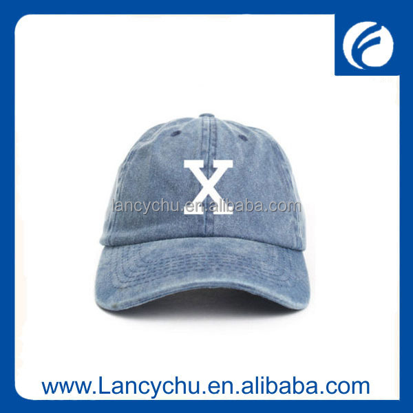 Hign quality embroidery logo letter X jean lightweight baseball cap