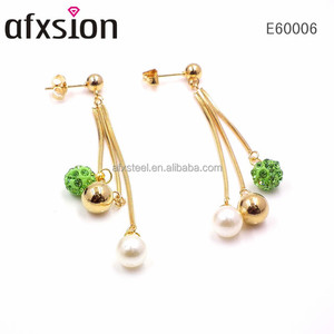 New Fashion Women's Stainless Steel Pearls and Green diamonds Tassel Pendant Ear Stud Dangle Elegant Gold Plated Earrings
