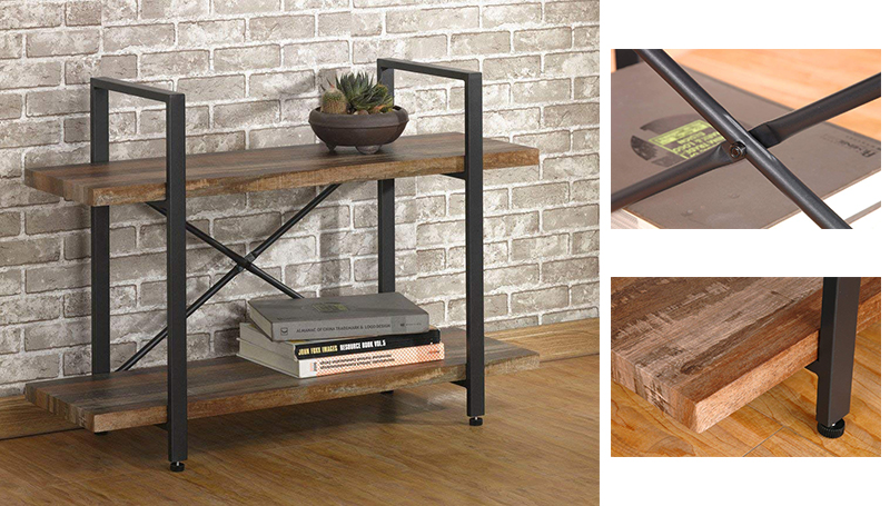 Modern 4-Tier Wood and Metal Bookshelves, Industrial Style Bookcases