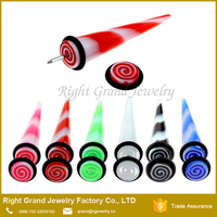 Fashion Marble UV Acrylic Fake Ear Taper Stretcher jewelry