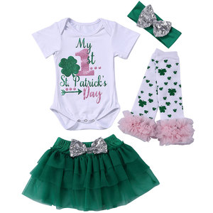 New Boutique Kids St Patrick's Day Clothes Baby Romper Toddler Girls Outfit