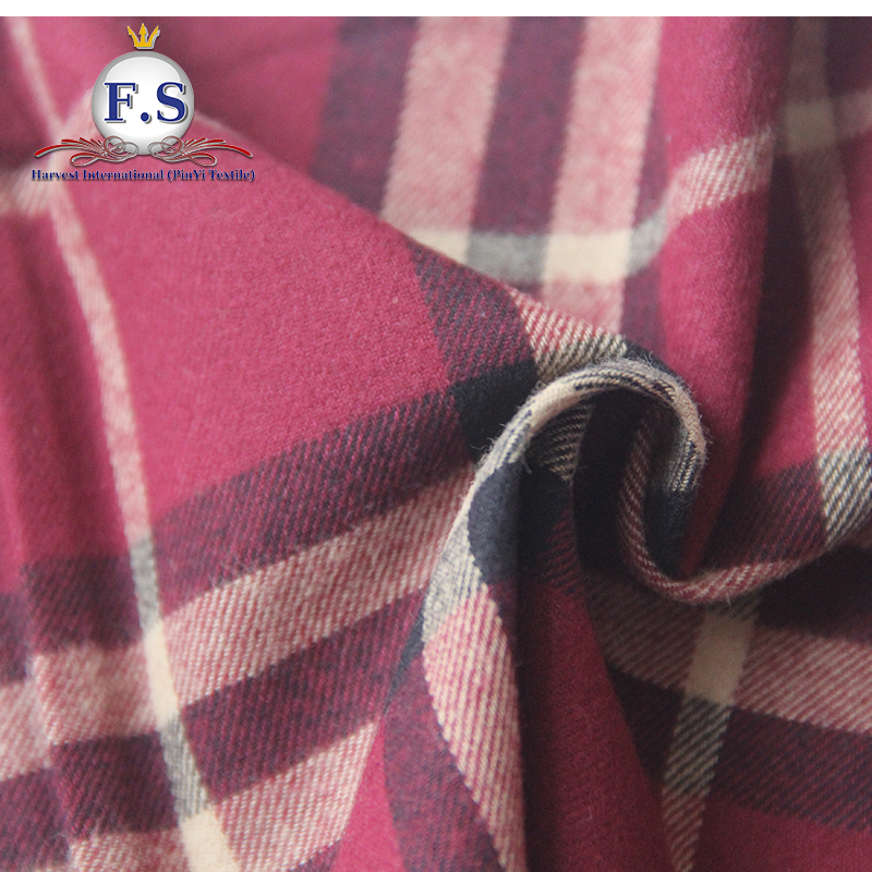 100% cotton yarn dyed plaid vintage flannel soft handfeel