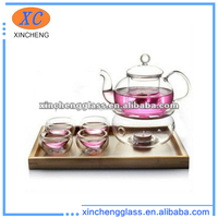 2012 new design double wall clear pyrex glass big tea set with warmer,cup,pot