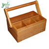 High Quality Lattice 100% Bamboo Flatware Caddy Storage Organizer ,Wooden Utensil Holder With Foldable Handle