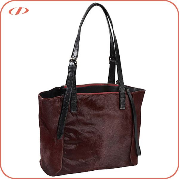 Women designer quality cowhide hair handbag