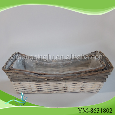 willow wood garden basket with liners with free sample for flower