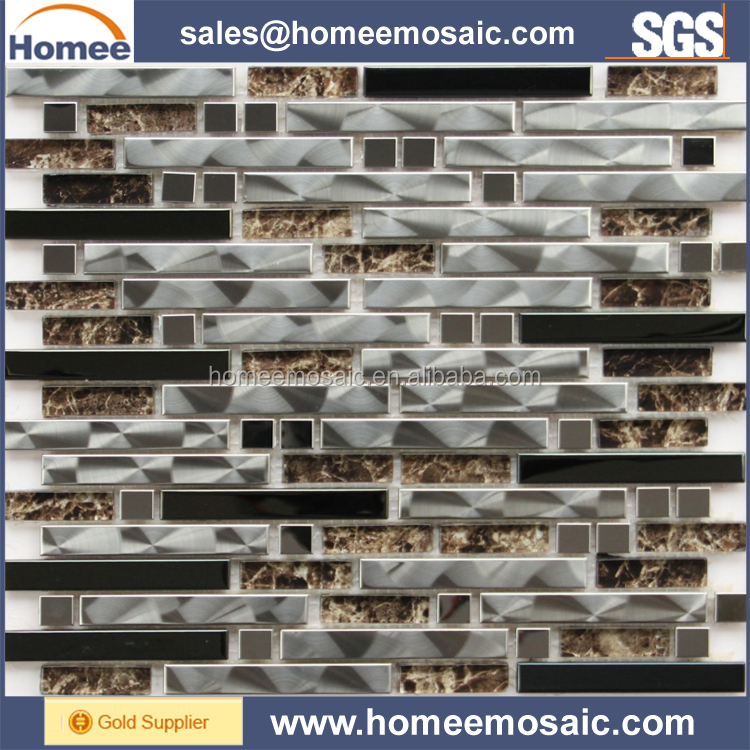 Laminated Glass Stainless Steel Metal Mosaic Tile
