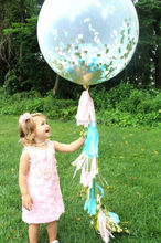 "Birthday Party Ideas Giant Latex 36"" Balloons Pink, Aqua and Metallic Gold Jumbo Confetti Balloon with Tassels Kids party ideas"