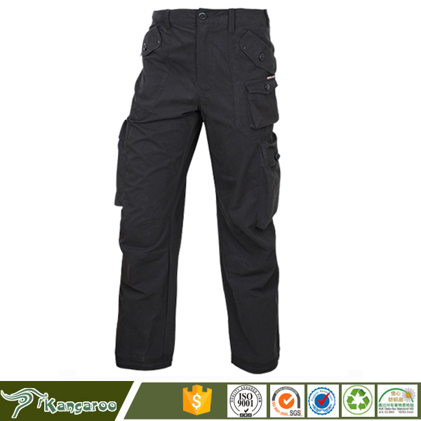 Black color 100% cotton Russian army 6 pocket cargo pants