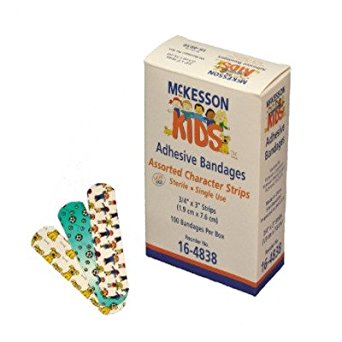 MCK48382000 - Adhesive Strip McKesson KIDS .75 X 3 Inch Plastic Rectangle Assorted Print Sterile