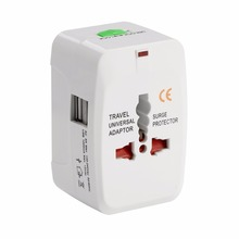 All in one universal international plug adapter 2 USB ports worldwide AC travel adaptor charger with UK/AUS/EURO/USA Type Plug