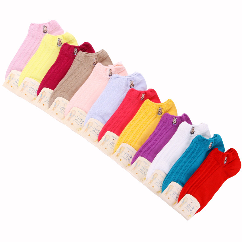 2015 Spring Cotton Women Socks Colorful Pure Color Cartoon Brand Socks Casual Women Summer Cute Female Socks 5pairs High Quality