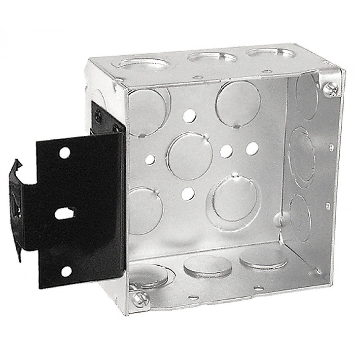 "2 Pcs, 4"" Square Junction Box, 2-1/8 In. Deep, w/Metal Stud Bracket, Zinc Plated Steel. Knockouts: Side: (4) 1/2 In & (5) 1/2-3/4 In; Bottom (3) 1/2 In & (2) 3/4 In"