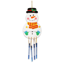 DIY handmade draw Painting wooden Wind chimes Snowman christmas wooden toys
