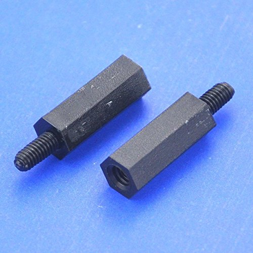 "Electronics-Salon 100pcs 15mm / 0.59"" Black Nylon M2.5 Threaded Hex Male-Female Standoff Spacer."