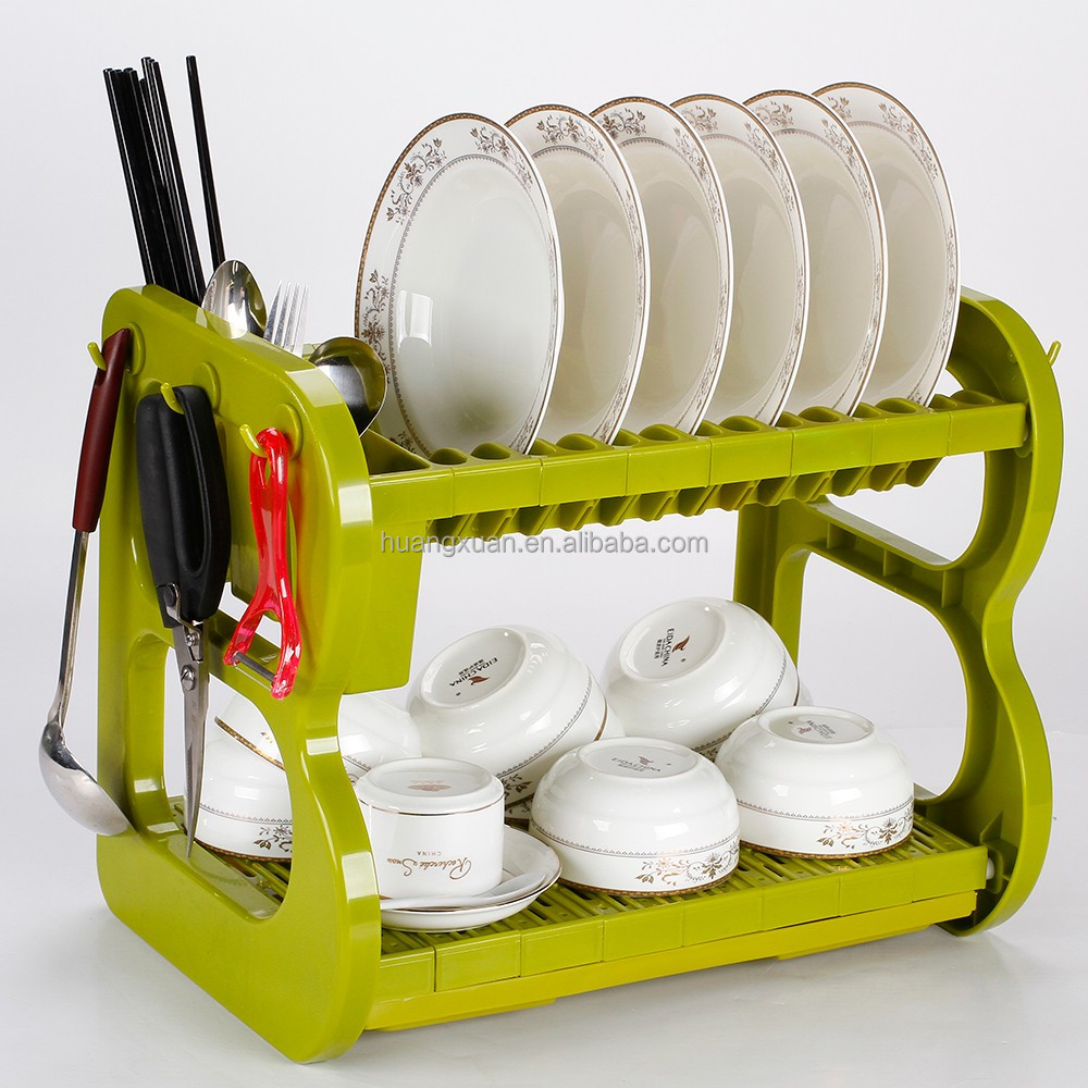 2 layer 16inch house organization plastic dish drainer for dish plate cup bowl cutlery