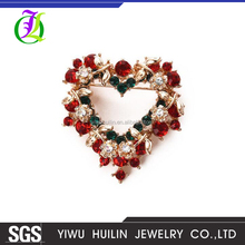 JTBR0039 Yiwu Huilin Jewelry Fashion Christmas Gift Love Heart multicolor Rhinestone Brooch for Women and men gift