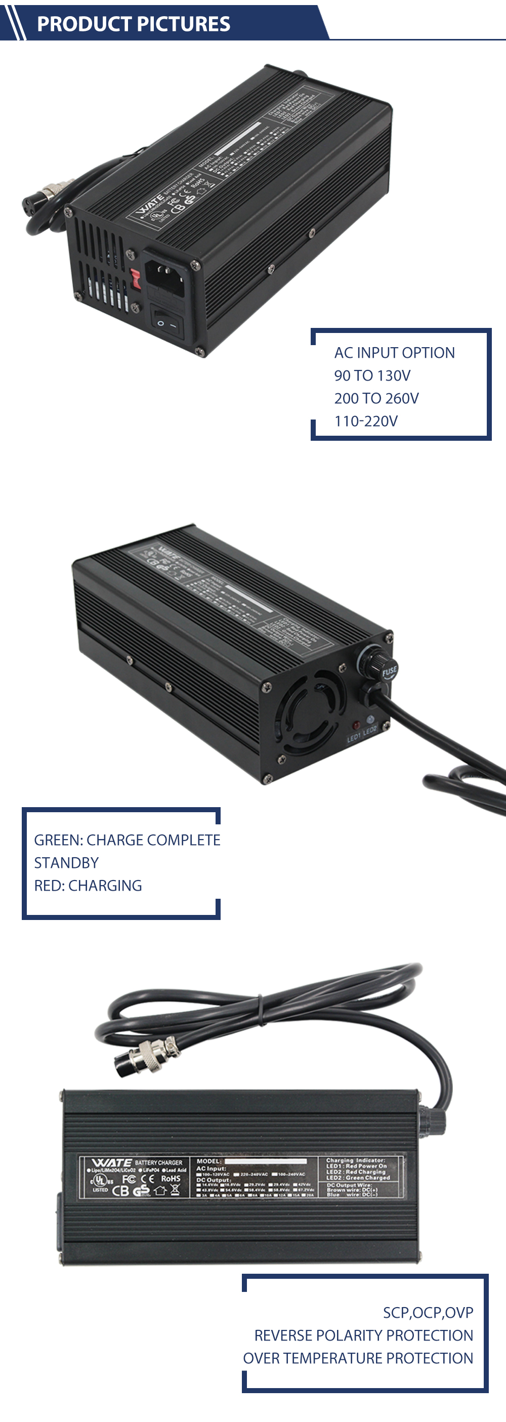 75.6v 4a 5a  Battery Charger For 18 Cells 64.8v Lithium Battery Charger