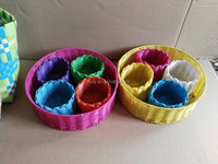 Popular Oval PP Plastic Woven Bread Basket fruit basket gift basket