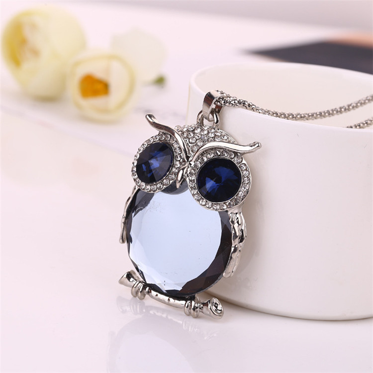 Fashion Jewelry 2018 New Style Necklace Owl Shape Pendant Crystal Insert Crystal Necklace For Gift