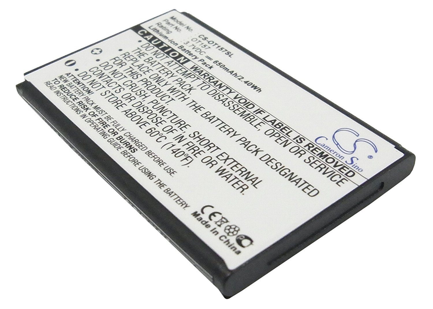 Get Quotations · VINTRONS Rechargeable Battery 650mAh For Alcatel OT-E157,  OT157