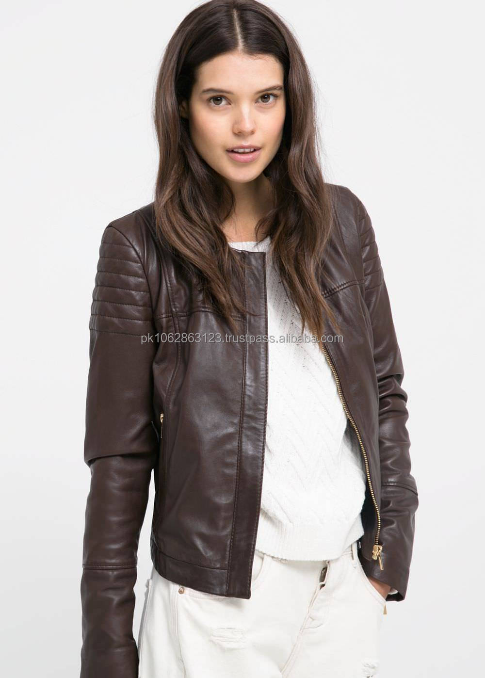 Black Color Leather Jackets For Ladies Buy Fashion European Ladies