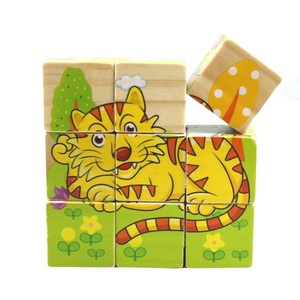3D wooden Cube Puzzle Six-sided Painting Jigsaw