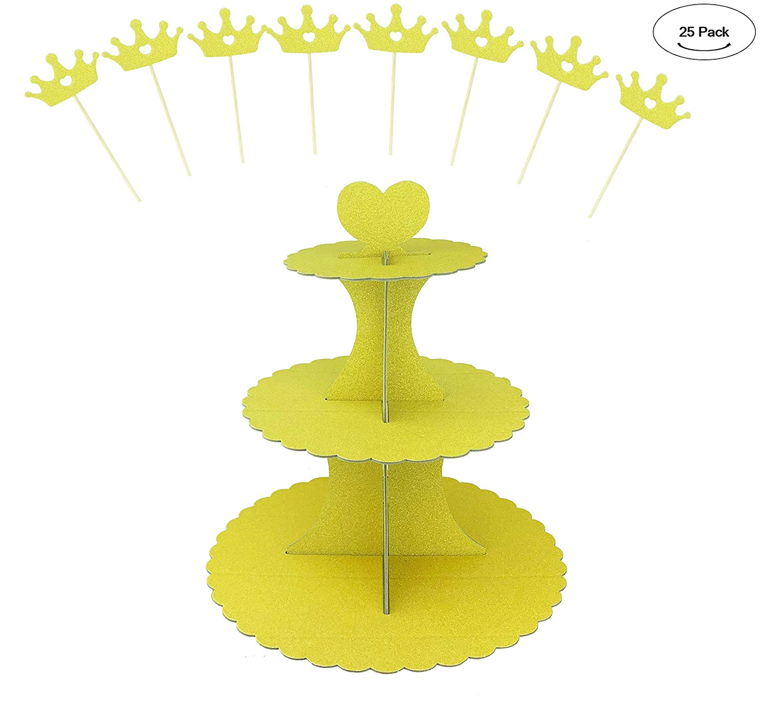 Carboard Cupcake Stand, Aucheer Gold Cardboard Cupcake Stand 3 tier Gold Glitter (1 Pack) and Glitter Gold Crown cupcake topper (24 PCS) for Dessert Birthdays Party Decoration - Gold
