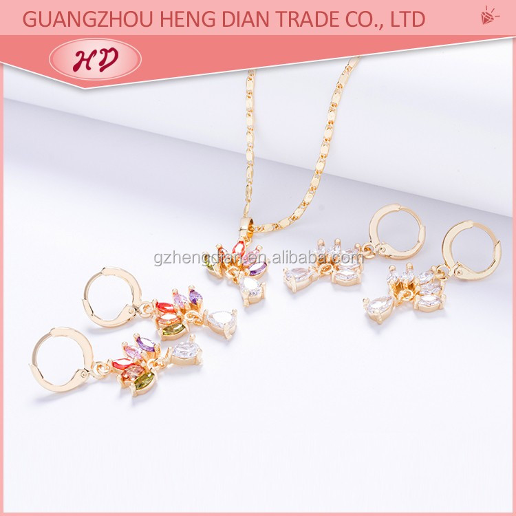 Wholesale 2017 new fashion 18K gold plated asian style jewellery sets  earring and necklace pendant jewellery