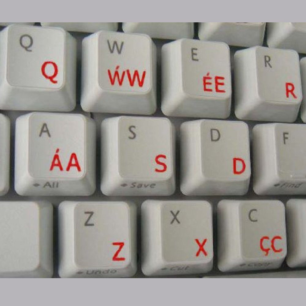 Welsh Transparent Keyboard Stickers with Red letters - for any laptop or keyboard