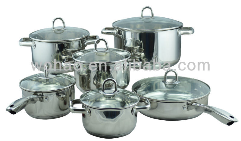 12pcs stainless steel super capsule bottom cookware