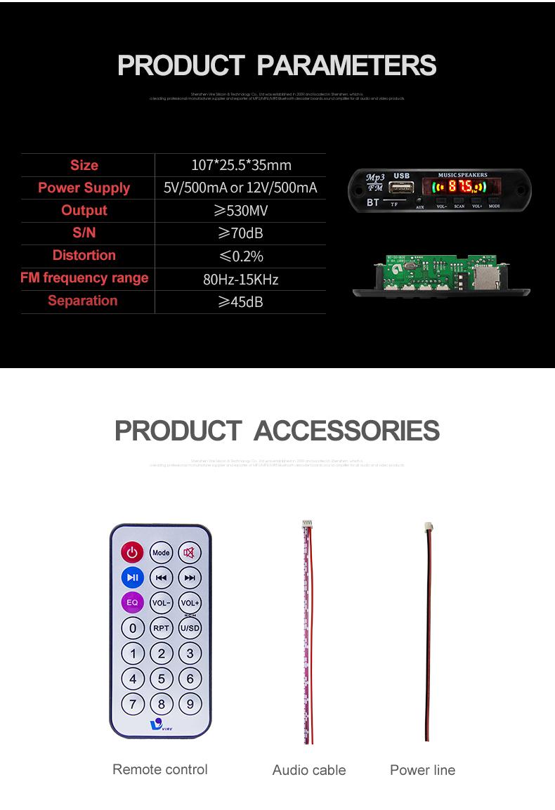 Giá Thấp VTF-108 Bluetooth Bảng Mạch Giải Mã MP3 Máy Nghe Nhạc Mô-đun