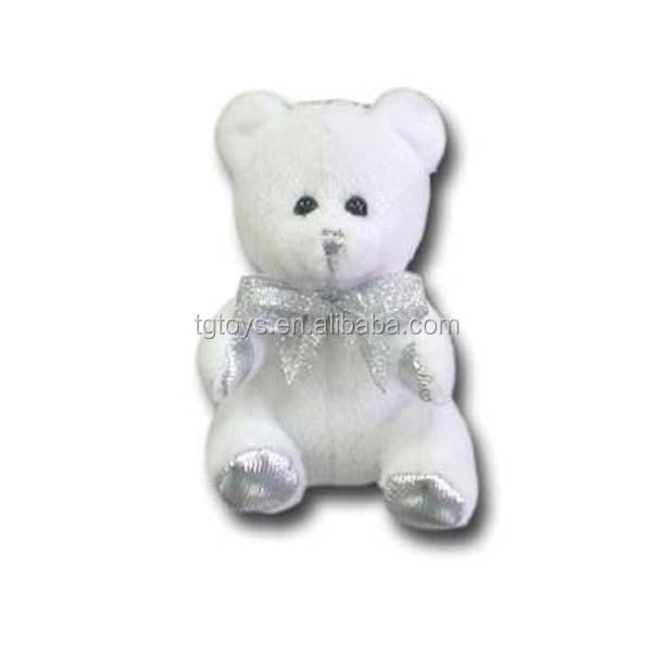3.5inch Promotional Toys Mini Teddy Bear White Shine Plush Teddy ...