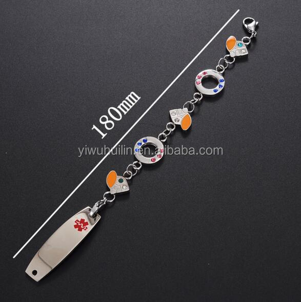 MS027 Huilin Jewelry custom Logo crystal pave Stainless Steel Medicine alert bracelet