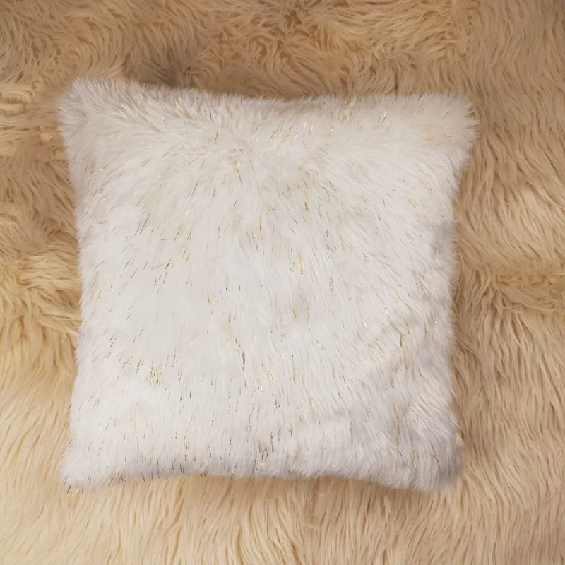 White Plush Sparkling tinsel faux fur chair cushion covers