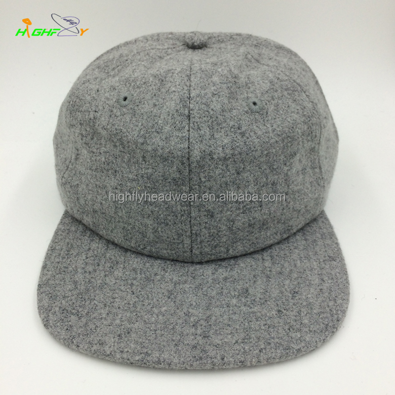 custom top quality grey wool flannel real leather strap blank 6 panel  unstructured snapback sntap back cap polo cap and hat for 515349addc5