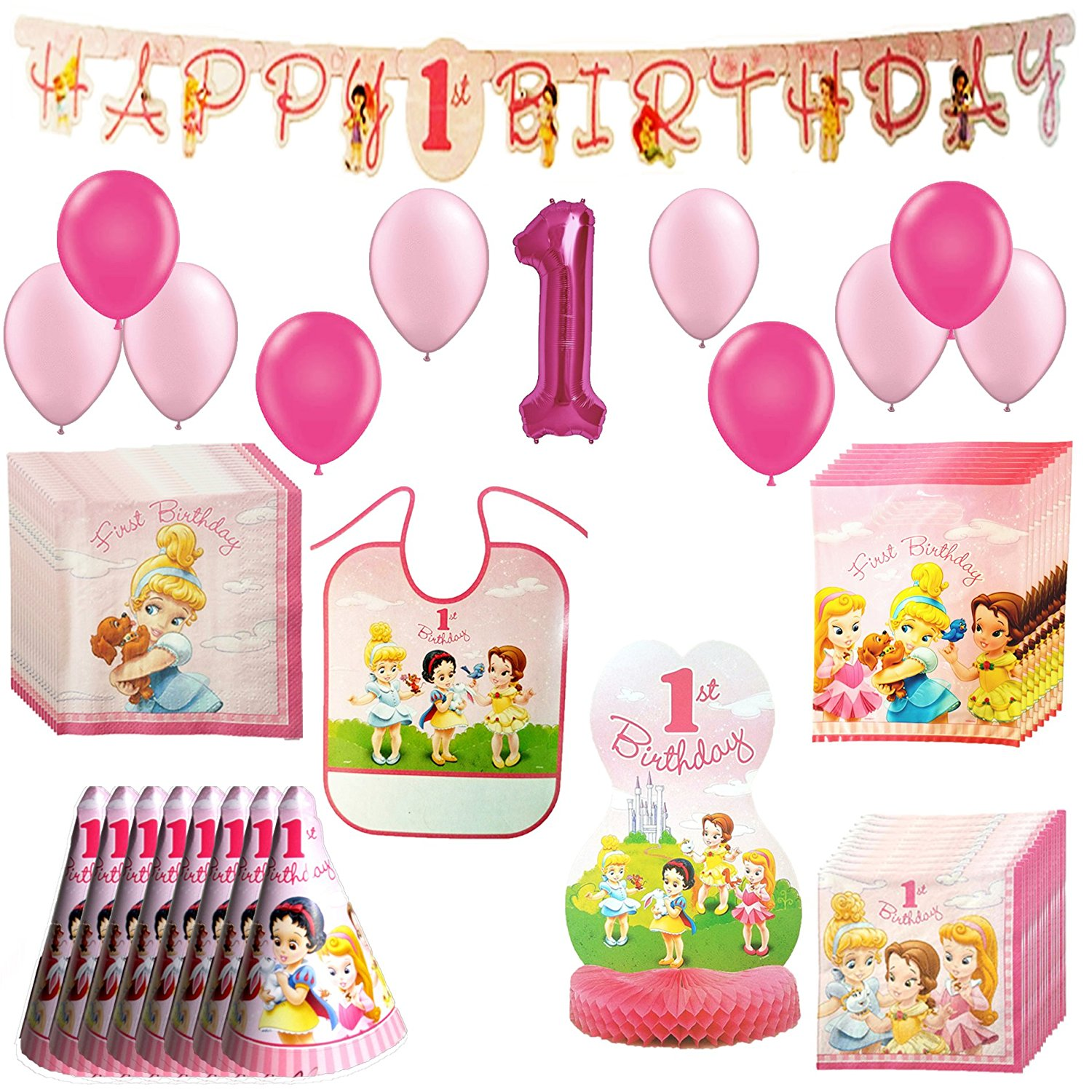 Disney Princess Baby 1st Birthday Party Pack 62pc