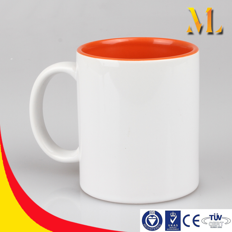 11OZ blank sublimation heat customized transfer printable Mug inner colorful/colorful handle coffee cup