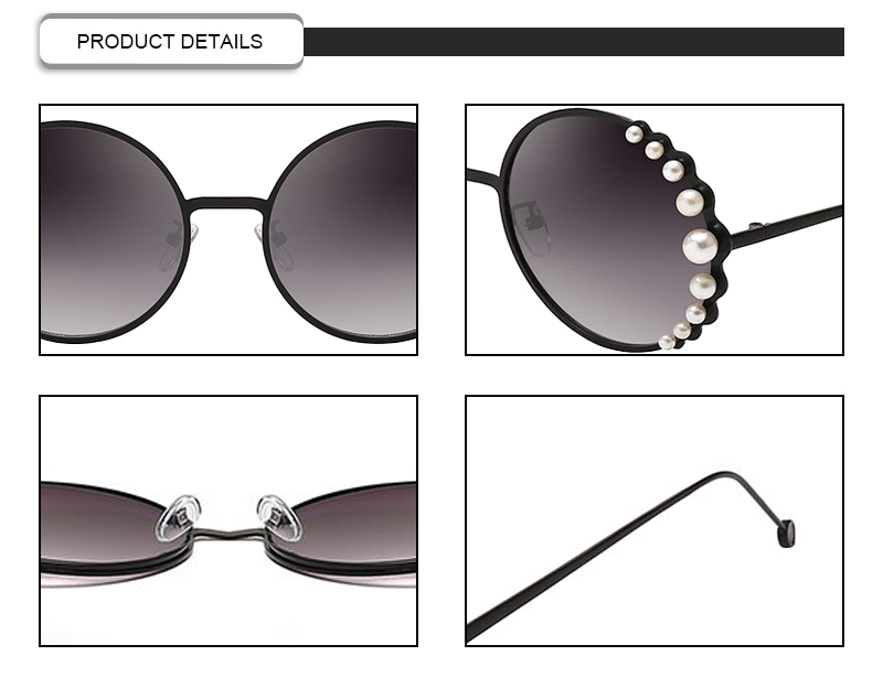 2019 Trendy Pearl Embellished Round Metal Frame Metal Women Sunglasses