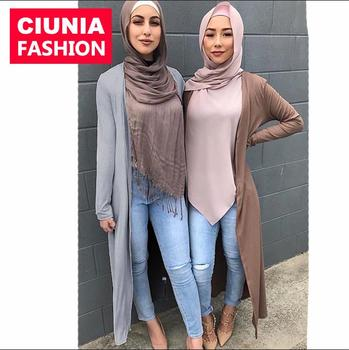 171# Young Girls Fashion Muslim Muslim Jacket Design Open Abaya Outwear Kimono Long Cardigan Islamic Clothing For Women