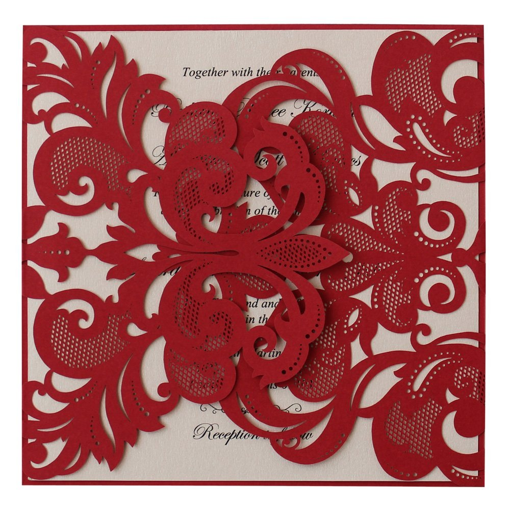 Buy IDo Classic Red Wedding Invitation With Pink Insert, Luxury Lace ...