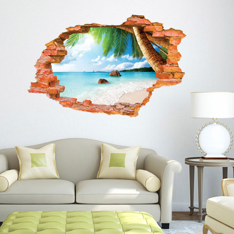Creative Home Decor 3D Wall Sticker Broken Wall Style Clear Sky Beach Pattern For Living Room 60*90 CM