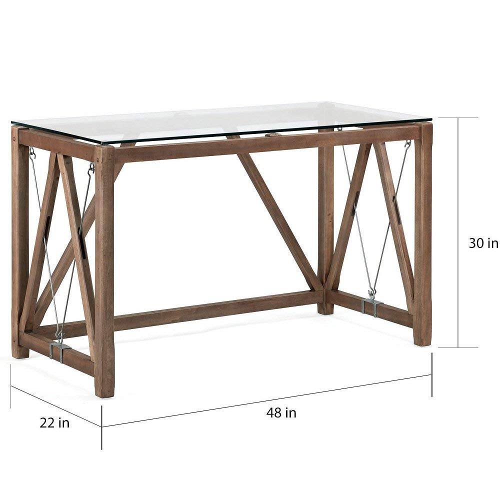 313e59aa3ba Get Quotations · MyEasyShopping Modern Rustic Classic Glass Top Cable Desk  Desk Antique Vintage Top Wood